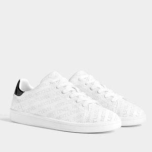 Bershka sneakers with perforated slogan size US 8